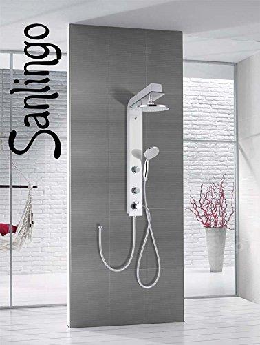 Duschpaneel mit Glas Duschsäule Silber Regenschauer Handbrause Massage Sanlingo