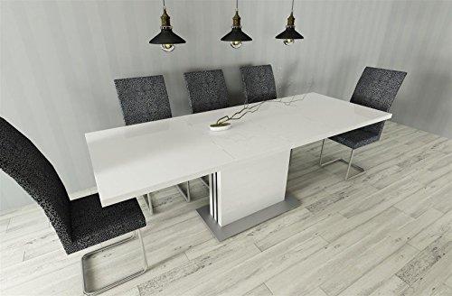 esstisch k chentisch ausziehbar 130 210 weiss hochglanz erweiterbar s ulentisch m bel24 shop. Black Bedroom Furniture Sets. Home Design Ideas