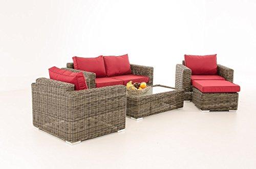 Mendler 2-1-1 Gartengarnitur CP050 Sitzgruppe Lounge-Garnitur Poly-Rattan ~ Kissen Rubinrot, Grau-Meliert