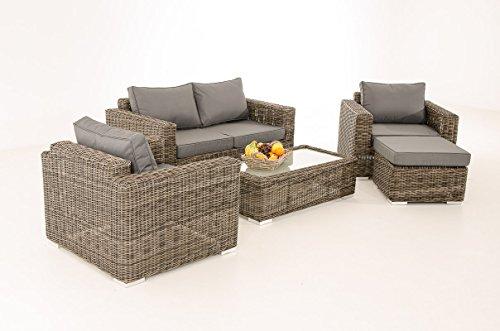 Mendler 2-1-1 Gartengarnitur CP050 Sitzgruppe Lounge-Garnitur Poly-Rattan ~ Kissen eisengrau, Grau-Meliert