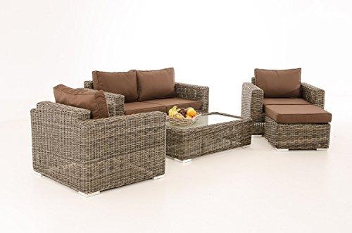 Mendler 2-1-1 Gartengarnitur CP050 Sitzgruppe Lounge-Garnitur Poly-Rattan ~ Kissen terrabraun, Grau-Meliert