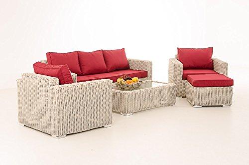 Mendler 3-1-1 Gartengarnitur CP053 Sitzgruppe Lounge-Garnitur Poly-Rattan ~ Kissen Rubinrot, perlweiß