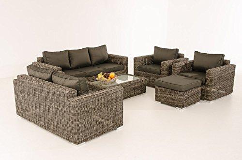 Mendler 3-2-1-1 Sofa-Garnitur CP050 Lounge-Set Gartengarnitur Poly-Rattan ~ Kissen Anthrazit, Grau-Meliert