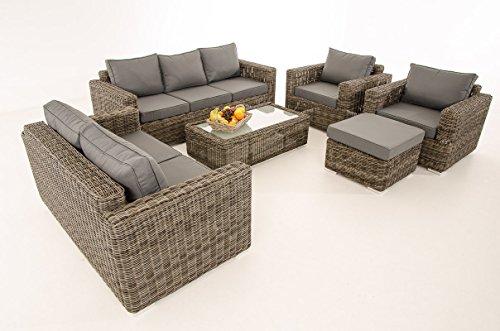 Mendler 3-2-1-1 Sofa-Garnitur CP050 Lounge-Set Gartengarnitur Poly-Rattan ~ Kissen eisengrau, Grau-Meliert