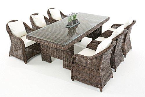 Mendler Garten-Garnitur CP065, Sitzgruppe Lounge-Garnitur, Poly-Rattan ~ Kissen cremeweiß, Braun-Meliert