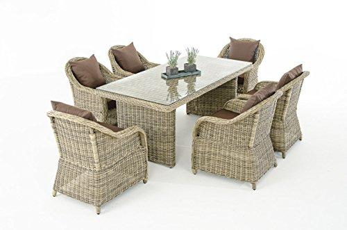 Mendler Garten-Garnitur CP071, Sitzgruppe Lounge-Garnitur Poly-Rattan ~ Kissen terrabraun, Natur