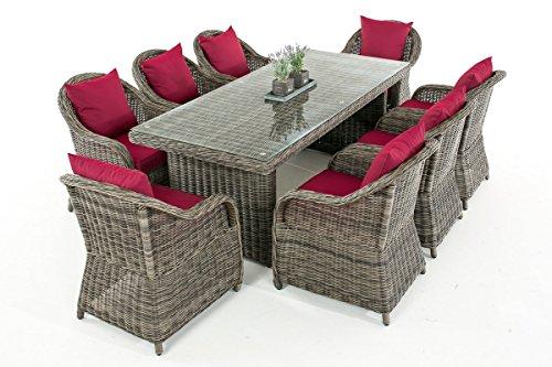 Mendler Garten-Garnitur CP071 XL, Sitzgruppe Lounge-Garnitur Poly-Rattan ~ Kissen Rubinrot, Grau-Meliert