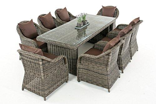 Mendler Garten-Garnitur CP071 XL, Sitzgruppe Lounge-Garnitur Poly-Rattan ~ Kissen terrabraun, Grau-Meliert