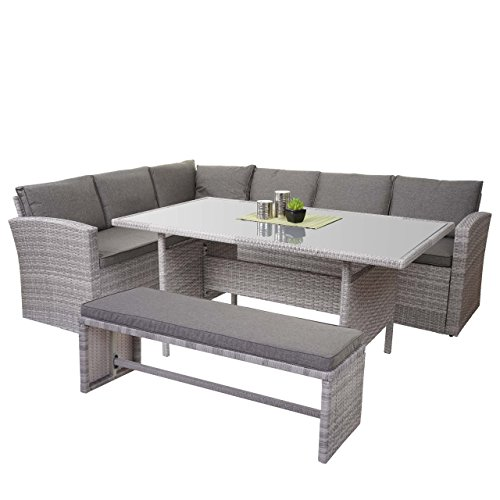 Mendler Poly-Rattan-Garnitur HWC-A29, Gartengarnitur Sitzgruppe Lounge-Esstisch-Set, Hellgrau