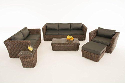 Mendler Poly-Rattan Gartengarnitur Sousse, Sofa-Garnitur Lounge-Set ~ Braun-Meliert, Polsterung Anthrazit