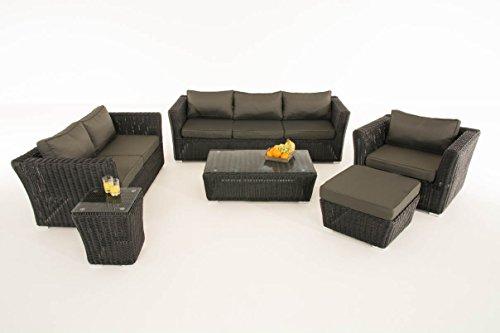 Mendler Poly-Rattan Gartengarnitur Sousse, Sofa-Garnitur Lounge-Set ~ Schwarz, Polsterung Anthrazit