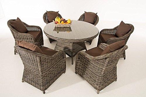 Mendler Poly-Rattan Sitzgruppe CP348, Sitzgarnitur Gartengarnitur ~ Grau-Meliert, Kissen terrabraun