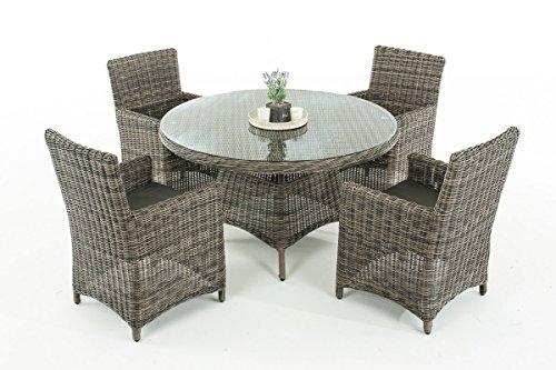 Mendler Poly-Rattan Sitzgruppe CP413, Gartengarnitur Lounge-Set ~ Grau-Meliert, Kissen Anthrazit