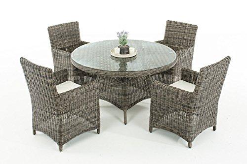 Mendler Poly-Rattan Sitzgruppe CP413, Gartengarnitur Lounge-Set ~ Grau-Meliert, Kissen Creme