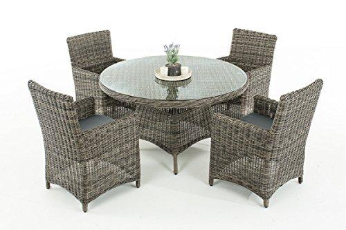 Mendler Poly-Rattan Sitzgruppe CP413, Gartengarnitur Lounge-Set ~ Grau-Meliert, Kissen eisengrau