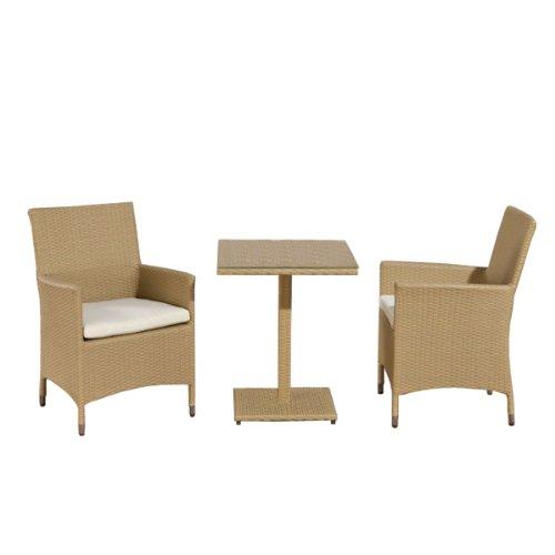 Mendler Sitzgruppe, Sitzgarnitur, Gartengarnitur Palermo, Polyrattan ~ sand
