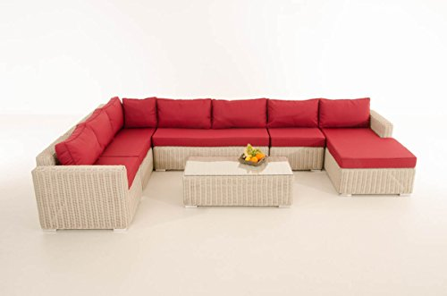 Mendler Sofa-Garnitur CP054, Lounge-Set Gartengarnitur, Poly-Rattan ~ Kissen Rubinrot, perlweiß