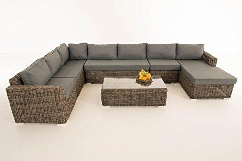 Mendler Sofa-Garnitur CP054, Lounge-Set Gartengarnitur, Poly-Rattan ~ Kissen eisengrau, Grau-Meliert