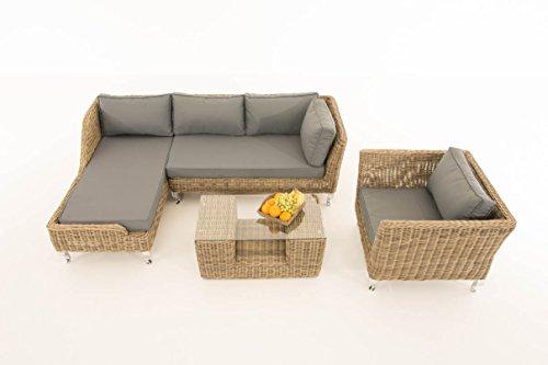Mendler Sofa-Garnitur CP055, Lounge-Set Gartengarnitur, Poly-Rattan ~ Kissen eisengrau, Natur
