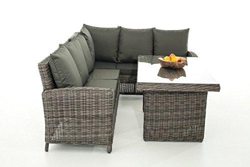 Mendler Sofa-Garnitur CP056, Lounge-Set Gartengarnitur, Poly-Rattan ~ Kissen Anthrazit, Grau-Meliert