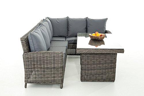 Mendler Sofa-Garnitur CP056, Lounge-Set Gartengarnitur, Poly-Rattan ~ Kissen eisengrau, Grau-Meliert