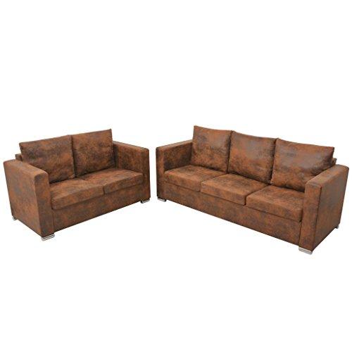 vidaXL 2-Sitzer Sofa Künstliches Wildleder Couch Polstersofa Loungesofa