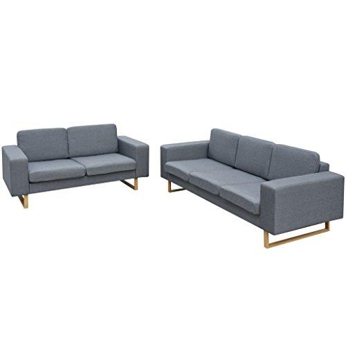 vidaXL Sofa Polstersofa 5-Sitzer Stoffsofa Lounge Couch Wohnzimmermöbel Hellgrau