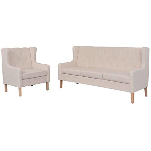 vidaXL Sofa Set 2-tlg. 3-Sitzer Stoff Cremeweiß Sofagarnitur Couch Polstersofa