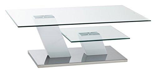 CAVADORE Couchtisch MILTON/moderner Couchtisch in Hochglanz weiß mit Glaspaltten auf 2 Ebenen/115 x 75 x 40 cm (LxBxH)