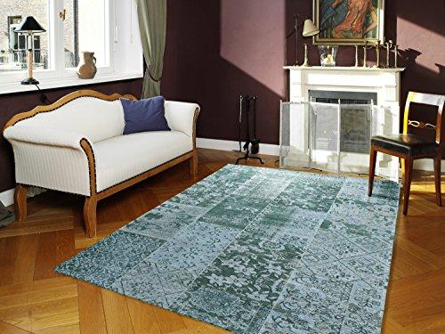 DALLIANCE ALLOVER Vintage Patchwork Velour Teppich in türkis, Größe: 40x60 cm
