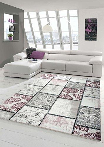 Edler Designer Teppich Moderner Teppich Wohnzimmer Teppich Patchwork Vintage Meliert Karo Muster in Lila Creme Grau Rosa Schwarz