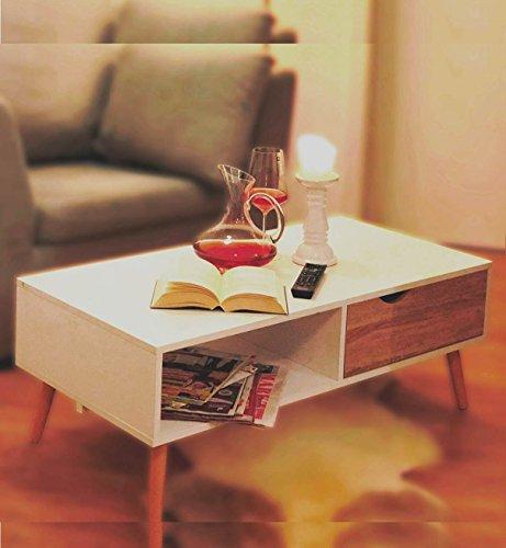 L. Living COUCHTISCH skandinavisch Eiche Sägerau-Optik LOWBOARD Modern weiß TV-Tisch FERNSEH-Tisch ca. 100 x 50 cm Wohnzimmertisch Beistell Tisch skandinavisches Design Buche Massivholz Beine ~ds2
