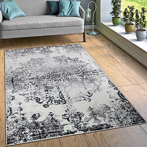Paco Home Designer Teppich Wohnzimmer Teppiche Ornamente Vintage Optik Schwarz Weiß