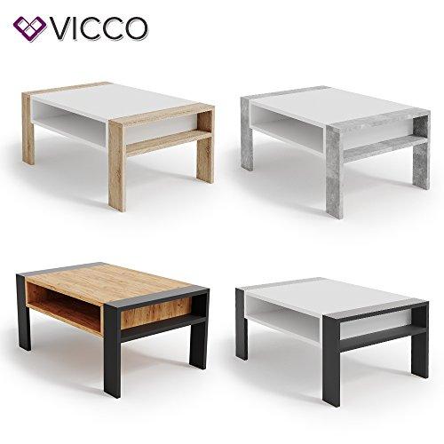 Vicco Couchtisch AITOR - Wohnzimmer Sofatisch Kaffeetisch 3 Farbvarianten Beistelltisch 90 x 60 cm - mit Ablagefach - Top Design