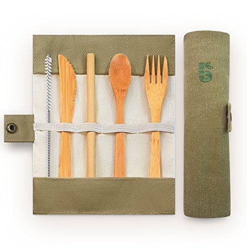 Bambaw Bambus Besteck Set | Reisebesteck | umweltfreundliches Besteckset | Messer, Gabel, Löffel und Strohhalm| Besteck Holz | Reisebesteck für unterwegs mit Reiseetui | 20 cm