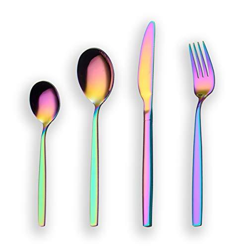 Berglander 24 Stück Titanium Regenbogen Farbe Plated Besteck, 24 Stück Bunte Besteck Set, Multi Farbe Besteck Set Besteck, Service für 6 (glänzend Rainbow)