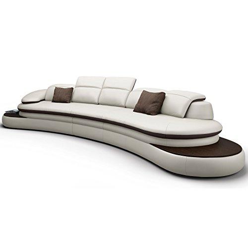 Big Sofa XXL Couch Leder Pisa Rundsofa Wohnlandschaft Teilleder Farbwahl