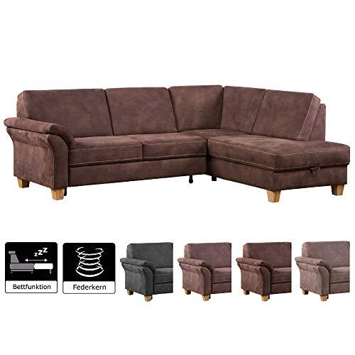 CAVADORE Ecksofa Baltrum mit Federkern mit Ottomane rechts / Großes Sofa mit Schlaffunktion im Landhausstil / 249 x 87 x 189 / Lederoptik: Dunkelbraun