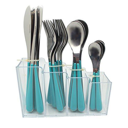 EXZACT EX153 24 Stk Rostfrei Stahl Besteck Set in Einem Plastikhalter - Farbige Griffe - 6 Gabeln, 6 Messer, 6 Löffel, 6 Teelöffel - Blau