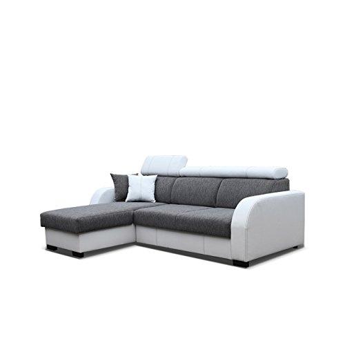 Ecksofa Deco, Eckcouch mit Bettkasten und Schlaffunktion, Design-Schlafsofa mit einstellbaren Kopfstützen, Polsterecke, Elegante L-Form Couch Couchgarnitur (Ottomane Universal, Soft 017 + Sumatra 2)