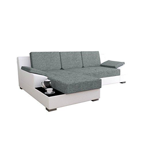 Mirjan24  Ecksofa Nemo! Eckcouch Couch mit Bettkasten und Schlaffunktion, Glasplatte, Rücken mit Material überzogen, Funktionssofa L-Form Schlafsofa Bettsofa (Ecksofa Links, Soft 017 + Tornado 14)