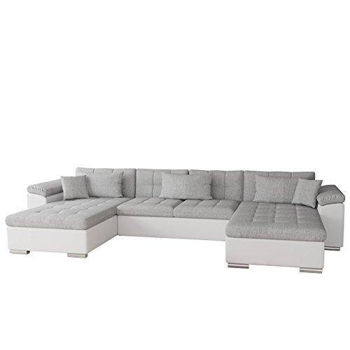Mirjan24  Ecksofa Wicenza Bris! Elegante Big Sofa mit Schlaffunktion Bettfunktion! Technologie Cleanaboo, Schwerentflammbar, Wohnlandschaft! U-Form, Eckcouch Couch! (Soft 017 + Bristol 2460)