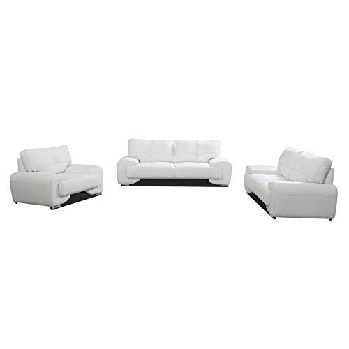Polstergarnitur Sofa Set 3er & 2er & Sessel 3-2-1 Wohnlandschaft 3-Sitzer und 2-Sitzer mit Sessel Möbel Set - Florida (Weiß)