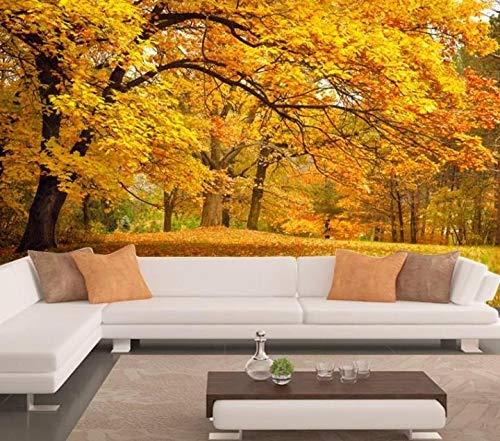Poowef 3d Wallpaper Wandmalereien Gold Montreal tv Wand Gold Baum Hintergrundbild Herbst klaren Eindruck von der romantischen Baum Wohnlandschaften