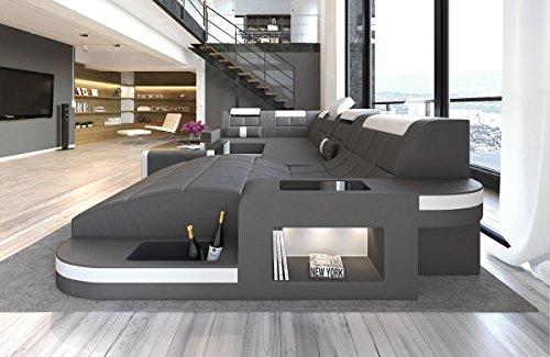 Sofa Dreams Leder Wohnlandschaft Wave U Form Grau-Weiss