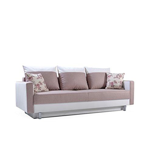 Sofa Tamara mit Bettkasten und Schlaffunktion, Modernes Funktionssofa, Design Couch, Bettsofa Schlafsofa Schlafcouch (Enzo 152 + Soft 017 + Rose 17)