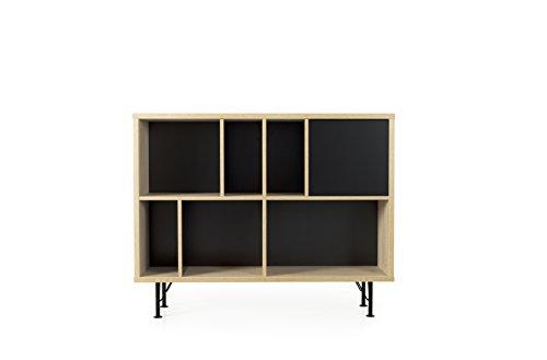 Tenzo 2862-682 Flow Designer Regal, Spanplatte/MDF/Metall, Eiche / Schwarz, 115 x 31 x 91 cm