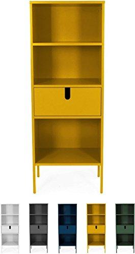 Tenzo 8562-029 UNO Designer Regal, 1 Schublade, Senf lackiert, MDF + Spanplatten, matt Soft-Close Funktion, 152 x 56 x 37 cm (HxBxT)