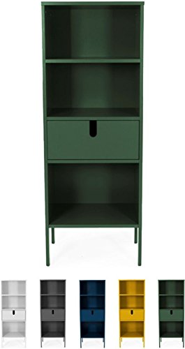Tenzo 8562-031 UNO Designer Regal, 1 Schublade, Forest Grün lackiert, MDF + Spanplatten, matt Soft-Close Funktion, 152 x 56 x 37 cm (HxBxT)