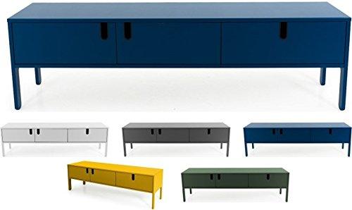 Tenzo 8571-023 UNO Designer Lowboard 2 Türen, 1 Schublade, Petrol Blau lackiert, MDF + Spanplatten, matt Soft-Close Funktion, 50 x 171 x 46 cm (HxBxT)